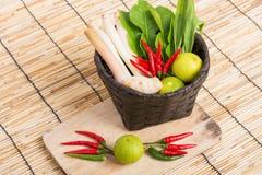 Thai Tom Yam soup herbs and spices, lemongrass, Kaffir Lime leav Stock Photography