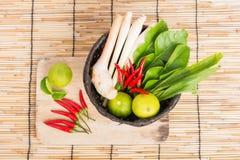 Thai Tom Yam soup herbs and spices, lemongrass, Kaffir Lime leav Royalty Free Stock Photo