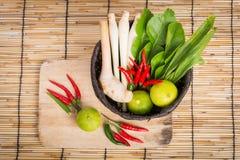 Thai Tom Yam soup herbs and spices, lemongrass, Kaffir Lime leav Stock Photos