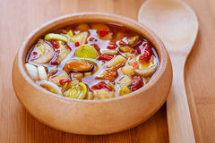 Thai Tom Yam soup with seafood Royalty Free Stock Photos