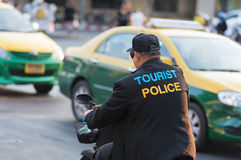 Thai tourist policeman on motorcycle Royalty Free Stock Photography