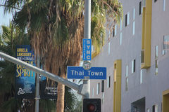 Thai Town. Los Angeles, California - November 10, 2014: Thai Town, a neighborhood in the East Hollywood district in Los Angeles, is the area for Thai ethic stock photography
