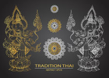 Thai tradition buddha hindu vector Royalty Free Stock Images