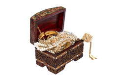 Thai traditional accessories in wooden box isolate Royalty Free Stock Photos