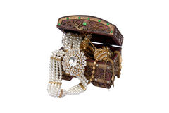 Thai traditional accessories in wooden box isolate Royalty Free Stock Image