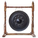 Thai traditional antique gong isolated on white background Stock Photos
