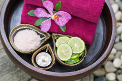 Thai traditional body care set and towels Royalty Free Stock Photo