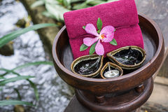 Thai traditional body care set and towels Royalty Free Stock Photography