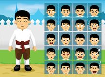 Thai Traditional Boy Cartoon Emotion faces Vector Illustration Royalty Free Stock Photo