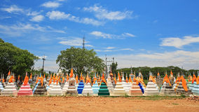 Thai traditional cemetery statues against blue sky Royalty Free Stock Photography
