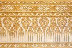 Thai Traditional Classic Pattern On Temple Wall Stock Photos
