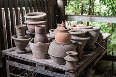 Thai traditional clay pottery Stock Photo