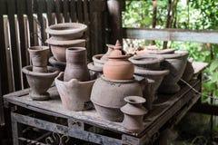 Thai traditional clay pottery Stock Photo