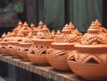 Thai traditional clay pottery. In ko Kret island, thailand Royalty Free Stock Photo