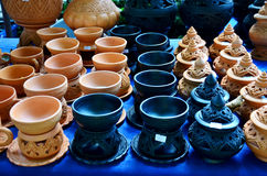 Thai traditional clay pottery for sale at Koh Kret Island Royalty Free Stock Photography