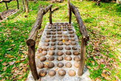Thai Traditional, Coconut shell modify for foot massage in publi Stock Images