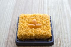 Thai traditional cusine dessert from yolk Cake foi thong. Thai traditional cusine dessert from yolk ,sweet coconut milk and brown shugar call `Cake foi thong` stock images