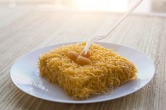 Thai traditional cusine dessert from yolk Cake foi thong. Thai traditional cusine dessert from yolk ,sweet coconut milk and brown shugar call `Cake foi thong` stock photography