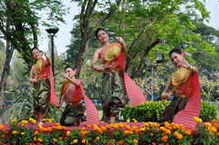 Thai Traditional Dancing. BANGKOK, THAILAND - DECEMBER 6 : Thai traditional dance. This is Thai traditional dance show in 2010 Flower Festival of Suan Luang Rama stock image