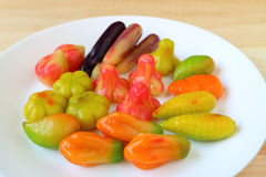 Thai Traditional Dessert Called Kanom-Look-Choup, Fruits and Vegetables Shaped Marzipan, Made from Stirred Mung Beans Stock Image