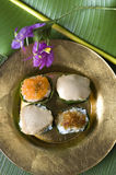 Thai traditional dessert on golden plate Royalty Free Stock Images