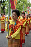Thai Traditional Dress. BANGKOK, THAILAND - OCTOBER 3: Thai Traditional Dress. This is the parade of making traditional merit of people from the northern stock image