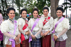 Thai Traditional Dress. BANGKOK, THAILAND - OCTOBER 2: Unidentified Thai ladies in traditional dress during a parade of people from the northern territory of stock image