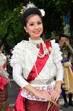 Thai Traditional Dress. BANGKOK, THAILAND - OCTOBER 2: Unidentified Thai lady in traditional dress during a parade of people from the northern territory of royalty free stock photo