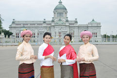 Thai Traditional Dress. BANGKOK, THAILAND - OCTOBER 2: Unidentified Thai ladies in traditional dress during a parade of people from the northern territory of royalty free stock photos