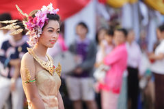 Thai traditional festival. PHAYAO, THAILAND - MARS 05 2011: Thai woman parade  during festival in honnor  to Phayao founder King Ngam Muang Stock Photos