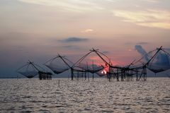 Thai traditional fishing trap, Phatthalung, Thailand Royalty Free Stock Photography