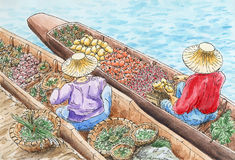 Thai traditional floating market Stock Photography