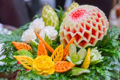 Thai traditional food decoration culture fruit carved Royalty Free Stock Photography