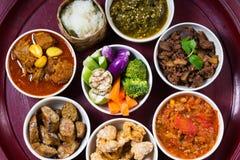 Thai traditional food dinner set called `Kantoke Dinner` royalty free stock image