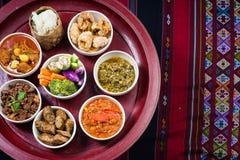 Thai traditional food dinner set called `Kantoke Dinner` Royalty Free Stock Photos