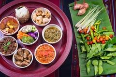 Thai traditional food dinner set called `Kantoke Dinner` Stock Images