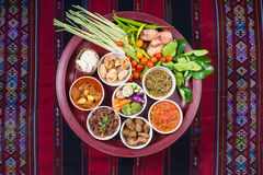 Thai traditional food dinner set called `Kantoke Dinner` royalty free stock images