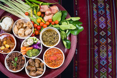 Thai traditional food dinner set called `Kantoke Dinner` royalty free stock photos