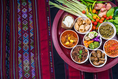 Thai traditional food dinner set called `Kantoke Dinner` royalty free stock photo
