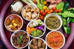 Thai traditional food dinner set called `Kantoke Dinner` royalty free stock photo