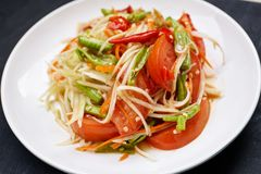 Thai traditional food, Papaya salad or Som Tam in Thai. Thai spicy food, Papaya salad or Som Tam in Thai with red chili, tomato, long bean mixed with thai royalty free stock photos