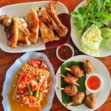 Thai traditional food. Somtam, papaya salad, grilled chicken, spicy food Royalty Free Stock Images