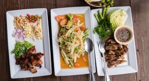 Thai traditional food : with spicy papaya salad Stock Images