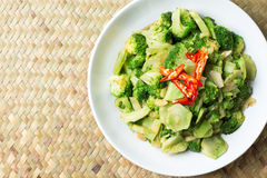 Thai traditional food stir fried broccoli (Pad pak) hot and spicy in white plate on Basketry background clean and delicious Royalty Free Stock Photo