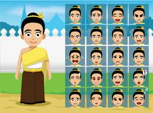 Thai Traditional Girl Cartoon Emotion faces Vector Illustration Stock Images