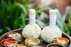Thai traditional Herbal balls and herb Royalty Free Stock Photo