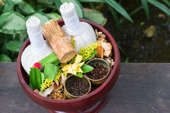 Thai traditional Herbal balls and herbs Stock Images
