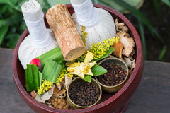Thai traditional Herbal balls and herbs Royalty Free Stock Photo