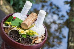 Thai traditional Herbal balls and herbs Royalty Free Stock Photography