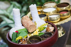 Thai traditional Herbal balls and herbs Royalty Free Stock Images